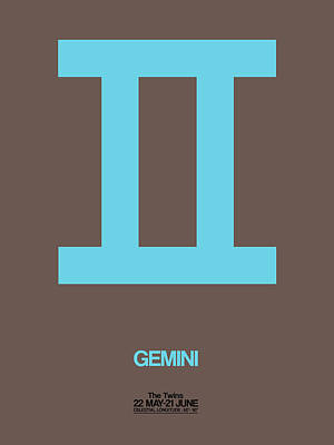 Signed Digital Art - Gemini Zodiac Sign Blue by Naxart Studio