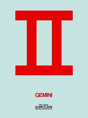 Signed Digital Art - Gemini Zodiac Sign Red by Naxart Studio