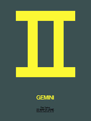 Signed Digital Art - Gemini Zodiac Sign Yellow by Naxart Studio