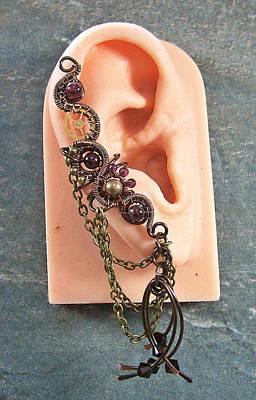 Ear Cuff Jewelry - Gemstone And Swarovski Crystal Large Bronze Steampunk Ear Cuff by Heather Jordan