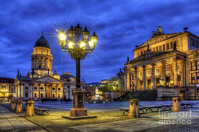 Berlin Germany Digital Art - Gendarmenmarkt Berlin At Night by Colin Woods