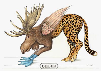 Aquarel Drawing - Gene Monster Number 9 - Cartoon by Art America Gallery Peter Potter