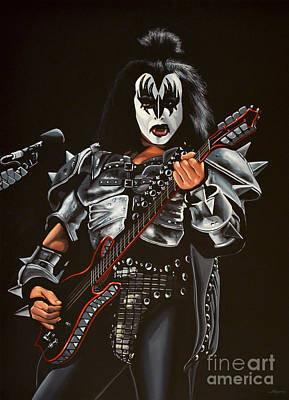 The Kiss Painting - Gene Simmons Of Kiss by Paul Meijering