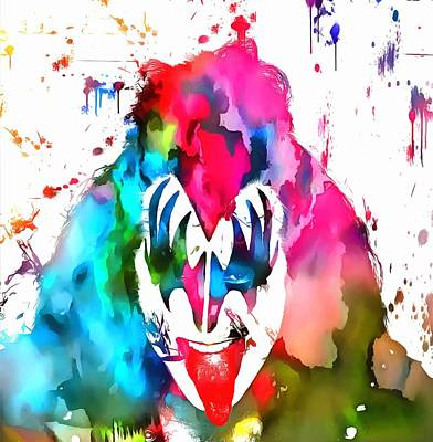 Music Paintings - Gene Simmons Paint Splatter by Dan Sproul