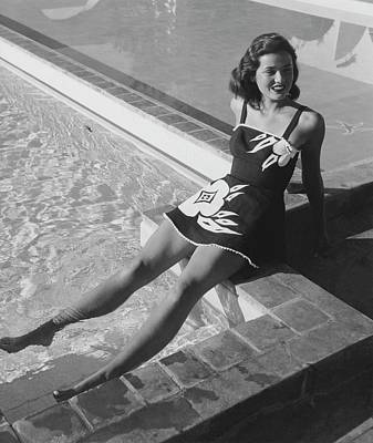 Gene Tierney Sitting Poolside Art Print by John Swope