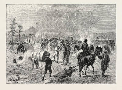 Sioux Drawing - General Crooks Camp At Whitewood Creek Bringing by American School