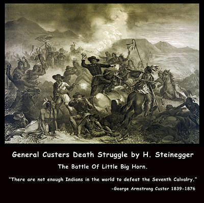 General Custers Death Struggle Art Print by H Steinegger