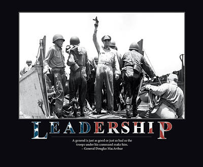 Colored Troops Photograph - General Douglas Macarthur Leadership by Retro Images Archive