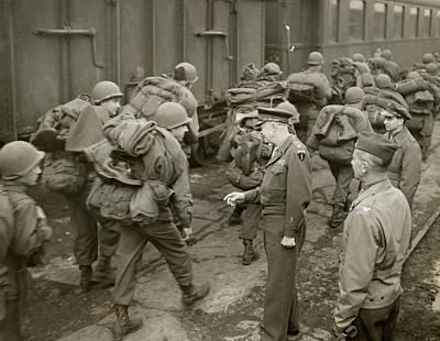 General Dwight D Eisenhower Photograph - General Dwight Eisenhower Greets Gis by Everett