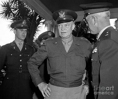 Print featuring the photograph General  Eisenhower 1946 by Martin Konopacki Restoration