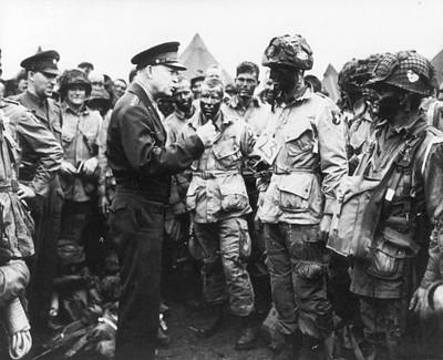 General Eisenhower Encouraging Troops Prior To D-day Invasion Art Print by Mountain Dreams