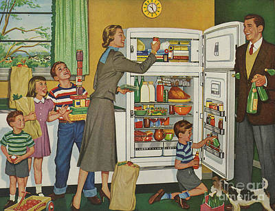 General Electric 1952 1950s Usa Fridges Art Print by The Advertising Archives