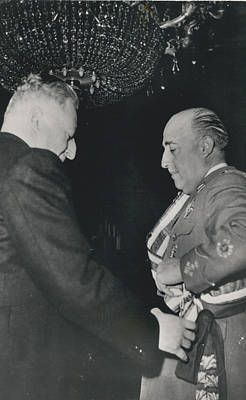 General Franco Decorated. Receives Garsnd Of The Omeyas - Art Print by Retro Images Archive