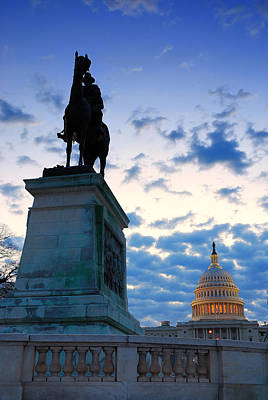 Photograph - General Grant Statue And Us Capitol In Washington Dc. by Songquan Deng