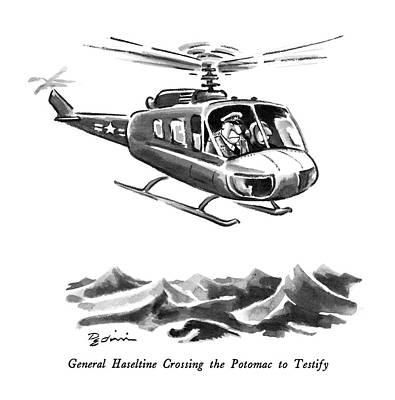 Helicopter Drawing - General Haseltine Crossing The Potomac To Testify by Eldon Dedini