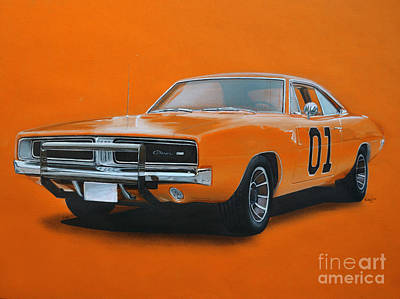 Chargers Drawing - General Lee Dodge Charger by Paul Kuras