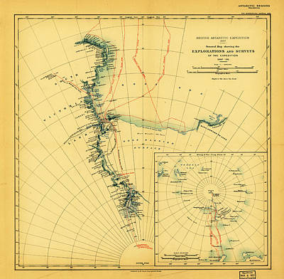 09 Painting - General Map Showing The Explorations And Surveys Of The Expedition 1907 09 by MotionAge Designs