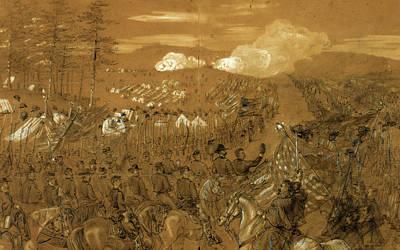 General Mcclellan Accompanied By General Burnside Taking Art Print