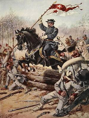 Confederate Flag Drawing - General Sheridan At The Battle Of Five by Henry Alexander Ogden