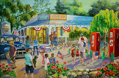General Store After July 4th Parade Art Print by Jan Mecklenburg