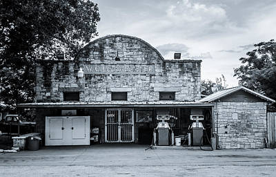 Photograph - General Store In Independence Texas Bw by David Morefield