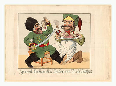 Caricature Drawing - General Swallow All O Feasting On A French Fricassee by Litz Collection