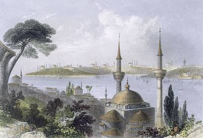 Harbor Drawing - General View Of Constantinople by William Henry Bartlett