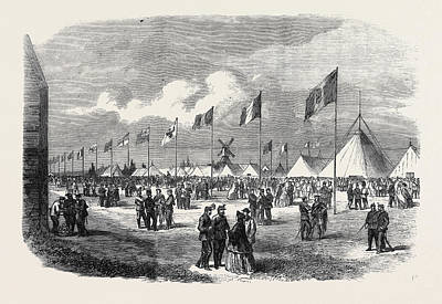 General View Of The Ground And Tents National Rifle Print by English School