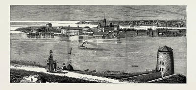 General View Of Wolfe Island, British Naval Defences Art Print by Litz Collection