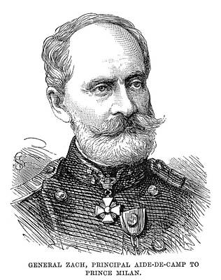Serbian Painting - General Zach, 1876 by Granger
