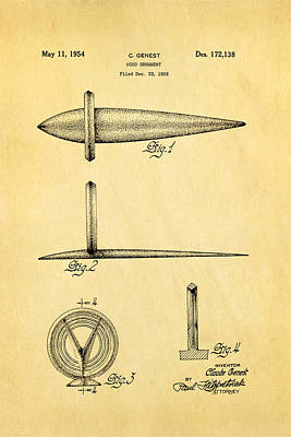 Genest Hood Ornament Patent Art Art Print by Ian Monk