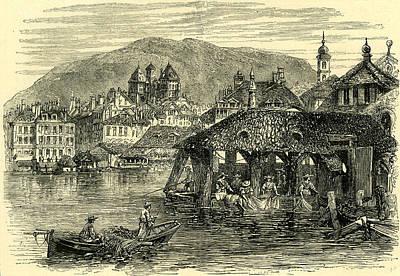 Switzerland Drawing - Geneva And The Rhone Switzerland by Swiss School