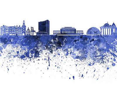 Geneva Painting - Geneva Skyline In Blue Watercolor On White Background by Pablo Romero