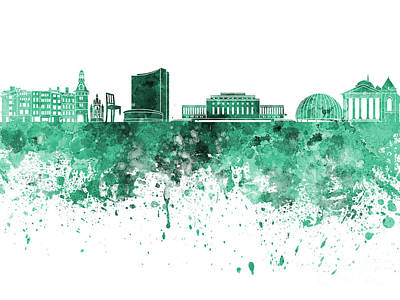 Geneva Painting - Geneva Skyline In Green Watercolor On White Background by Pablo Romero