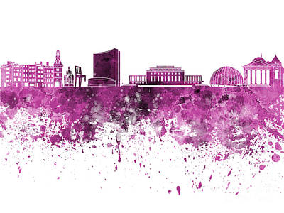 Geneva Painting - Geneva Skyline In Pink Watercolor On White Background by Pablo Romero