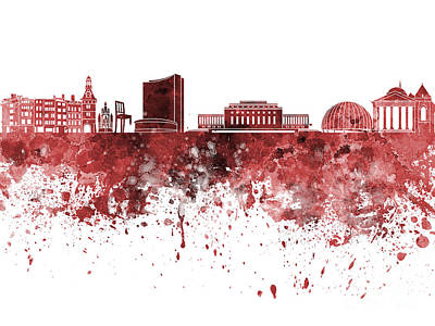 Geneva Painting - Geneva Skyline In Red Watercolor On White Background by Pablo Romero
