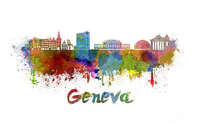 Geneva Painting - Geneva Skyline In Watercolor by Pablo Romero