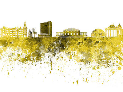 Geneva Painting - Geneva Skyline In Yellow Watercolor On White Background by Pablo Romero