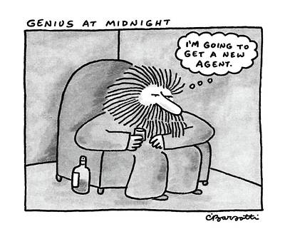 Genius Wall Art - Drawing - Genius At Midnight by Charles Barsotti