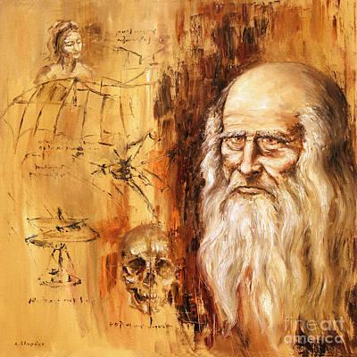 Genius   Leonardo Da Vinci Art Print by Arturas Slapsys