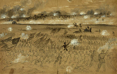 Chinese American Drawing - Genl. Humphreys Charging At The Head Of His Division by Quint Lox