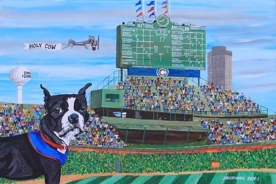 Baseball Art Painting - Geno At Wrigley 2014 by Mike Nahorniak