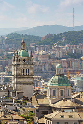 Genoa, Liguria, Italy. Dome And Tower Art Print