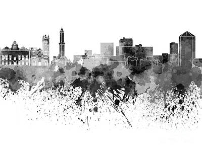 Genoa Painting - Genoa Skyline In Black Watercolor On White Background by Pablo Romero