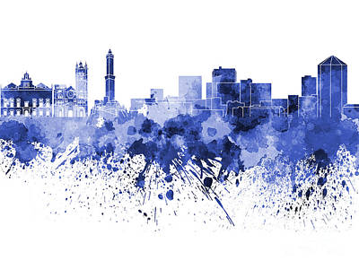 Genoa Skyline In Blue Watercolor On White Background Art Print by Pablo Romero