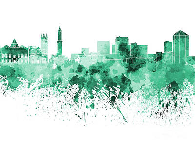 Genoa Painting - Genoa Skyline In Green Watercolor On White Background by Pablo Romero