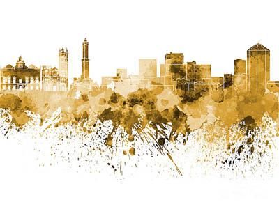 Genoa Painting - Genoa Skyline In Orange Watercolor On White Background by Pablo Romero