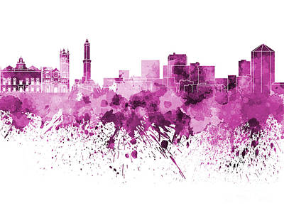 Genoa Skyline In Pink Watercolor On White Background Art Print by Pablo Romero