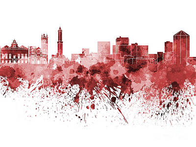 Genoa Skyline In Red Watercolor On White Background Art Print