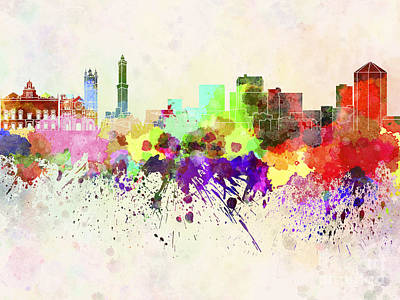 Genoa Painting - Genoa Skyline In Watercolor Background by Pablo Romero